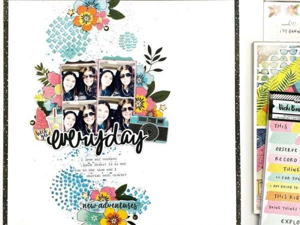 Stenciled Layout Background – Book Scrapbook