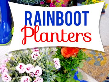 cute rainboot planter tutorial