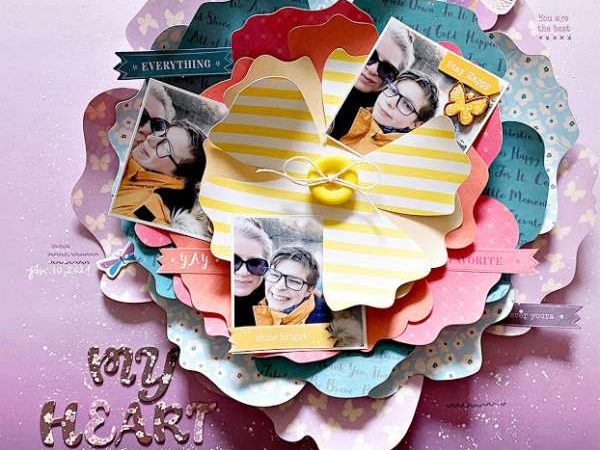 Layout of layered flower petals – scrap booking